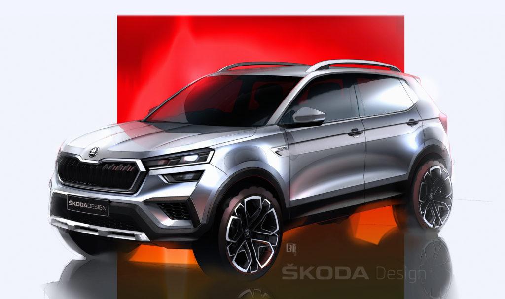 Premiers sketchs du Skoda SUV Kushaq - Algérie