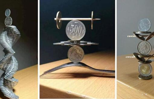 نعم الصور حقيقية… مبدع ياباني يبهر في فن توازن العملات المعدنية